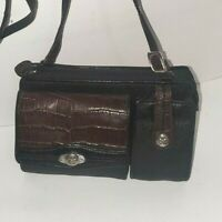 Brighton Black Brown Croc Print Leather Crossbody Purse