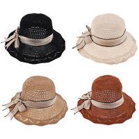 65e1ebfe Womens Bowknot Folding Sun Hat Adjustable Big Brim Floppy Bucket Hat Cap