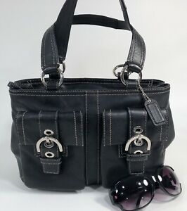 COACH Soho Black Saddle Leather Shoulder Satchel #8A09