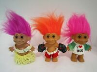 Lot of 3 RUSS BERRIE Vintage Hawaiian, Boxer, I love Texas Trolls, 7""