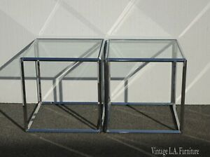Pair of Vintage Mid Century Modern Square Chrome End Tables
