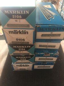 Marklin HO M-track #5106 Straight track 9 individual boxes (10pcs/box) USED