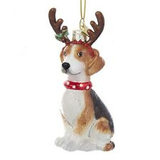 Beagle w/Antlers Noble Gems Glass Ornament
