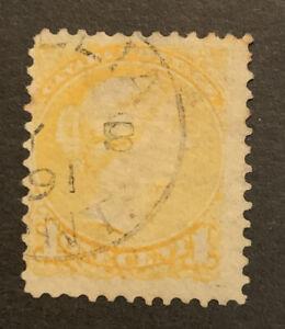 1873-79 Canada 1c Yellow FU stamp