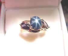 GENUINE NATURAL STAR SAPPHIRE 2.11 CTS w/ NATURAL IOLITE MARQUISE 10K GOLD RING