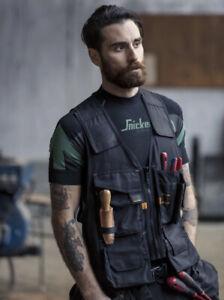 Snickers Black Work Tool Vest Jacket Tool Belt Dewalt Stanley Bag Size 43 Large