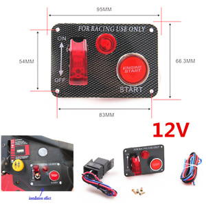 Carbon Fiber Style Car Engine Starter Ignition Switch Panel W/Relay Wiring Kit