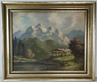 "Old Oil Painting on Canvas Mountain Landscape with Lake Framed Art (22"" x 26"")"