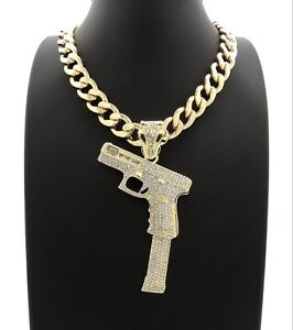 "Glizzy Gang Gun Pendant With 20"" Cuban Link Chain 14k Gold Plated"