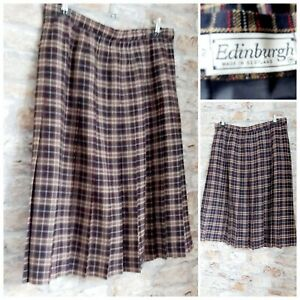 EDINBURGH Size 20 Pure New Wool Tartan Check Pleated Skirt Red/Beige