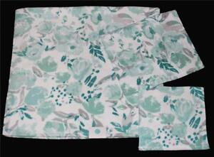 3 Pc C HOME LRG Teal Mint Grey Floral Velour Bath & Hand Towel Washcloth NEW