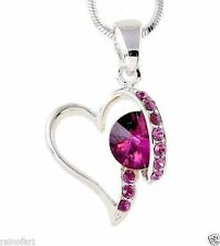 "W Swarovski Crystal Purple Heart Love Gift Pendant Necklace Jewelry 18"" Chain"
