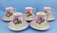 ANTIQUE SET OF 5 PORCELAIN CUPS AND SAUCERS PINK FLORAL HAND PAINTED