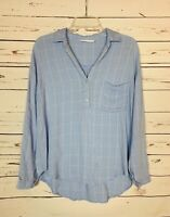 Lush Boutique Women's S Small Blue White Plaid Spring Long Sleeve Top Blouse