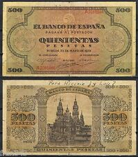 500 PESETAS 1938 EM. BURGOS Serie B2085888 P.114a  -EL DE LA FOTO-