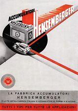 PUBBLICITA' FABBRICA ACCUMULATORI HENSEMBERGER MONZA BATTERIA AUTO  1936