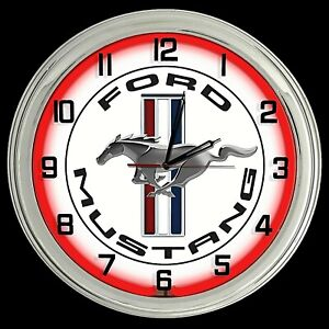 """16"""" Ford Mustang Logo White Sign Red Neon Clock"""