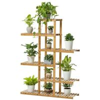 Premium Bamboo Wooden Plant Stand Indoor Outdoor Garden Planter Flower Pot Shelf