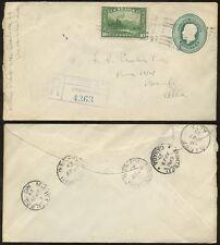 CANADA KG5 1929 STATIONERY ENV.UPRATED REGIST.+ 10c BANFF...MOOSEJAW CALGARY RPO