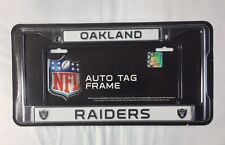 Oakland Raiders Chrome Metal License Plate Frame - Auto Tag Holder - NEW