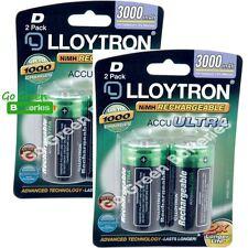 4 x Lloytron D Size 3000 mAh NiMH Rechargeable Batteries LR20 HR20 DC1300 ACCU