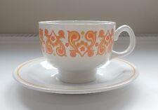 Ridgway Christina Tea Cup & Saucer Vintage 1970s Orange White Ironstone Retro