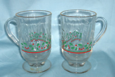 Pair Arby's Christmas Glass Coffee Mugs, Hot Beverage Mugs with Holly Design