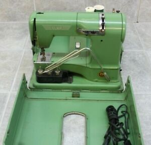 Vintage Elna Supermatic Sewing Machine & Metal Carrying Case Type 722010
