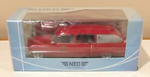 NEO 1956 Cadillac Miller Ambulance Red 1/43