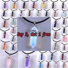 Hot! Natural Genuine Leather Reiki Chakra Healing Crystal Quartz Choker Necklace
