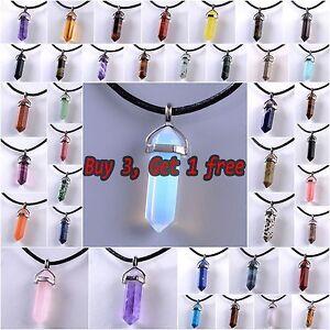 Natural Quartz Crystal Stone Point Chakra Healing Gemstone Pendant Necklace /bw