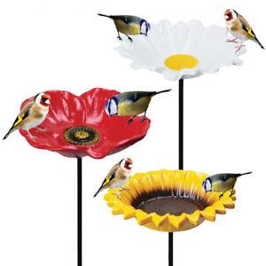 Bird Bath Water Seed Feeder Cast Iron Round Flower Petal Wild Garden Ornate