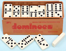 Double Six Dominoes with Spinners, Slide Lid - Ivory