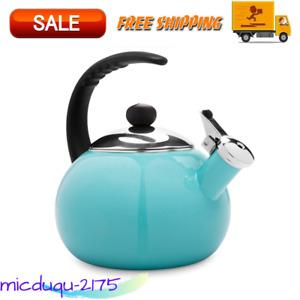 Luna 2.5 Qt Tea Kettle, Aqua Ergonomically Designed Stay-Cool, Soft-Grip Handle