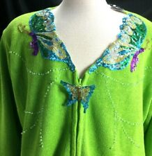 Sweater Storybook Knits Women's 2XL Cardigan Butterfly Sequin Zipper Front Green