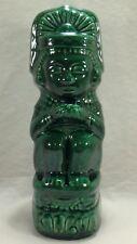 Vintage Jade Green Tiki God Kahlua Liquor Bottle Decanter Mexican Mayan Aztec