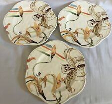 """Anthropologie 9"""" Dinner Plates - Set Of 3 - """"Good Talk Saves The Day"""" Daylily"""