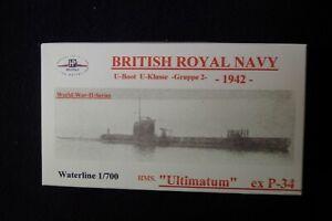 HP Models  Brit. U-Boot der U-Klasse 2. Gruppe HMS Ultimatum -1942-  1:700 Resin