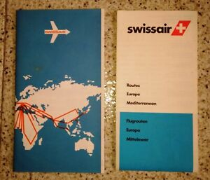 Swissair 2 Different Routes Maps December 1979 great condition