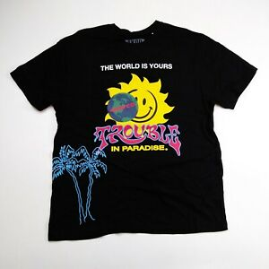 Akoo mens 100%AUTHENTIC T-SHIRT SIZE LARGE black trouble in paradise