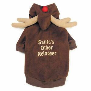 Casual Canine Reindeer Dog Hoodie Pet Brown Fleece Christmas Holiday Costume
