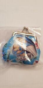 Madonna & Child Rosary Beads Full Rosary Blue Glass Beads Purse Catholic Gift