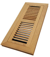 "Homewell 4""x12"" Red Oak Wood Floor Register, Flush Mount Vent With Damper"