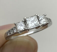 14K WHITE GOLD 0.98TCW DIAMOND PRINCESS CUT & ROUND ENGAGEMENT VALENTINES RING