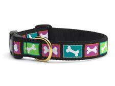 "Dog Puppy Designer Up Country Bright Bones Collar Medium 1"" Adjustable USA"