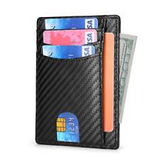 RFID Blocking Men's Carbon Fiber Leather Credit Card ID Holder Case Thin Wallet