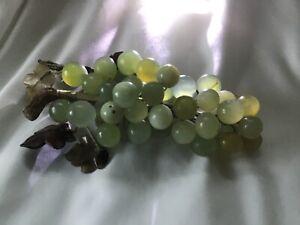 Vintage Glass Green Grapes Wooden Vine & Glass Leaves Decor Ornament Fruit Home
