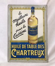 Antique French Pressed Tin Advertising Sign, Huile De Table Des Chartreux, 15x10