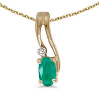 """10k Yellow Gold Oval Emerald And Diamond Wave Pendant with 18"""" Chain"""