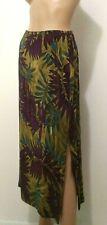 NORTON MCNAUGHTON Long Skirt Green w/Leaves Multicolor Sz 6 Semi Sheer 100% Silk